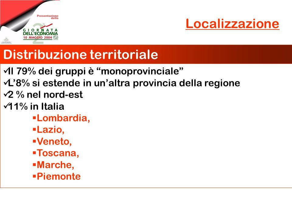 Localizzazione Distribuzione territoriale Il 79% dei gruppi è monoprovinciale L8% si estende in unaltra provincia della regione 2 % nel nord-est 11% i