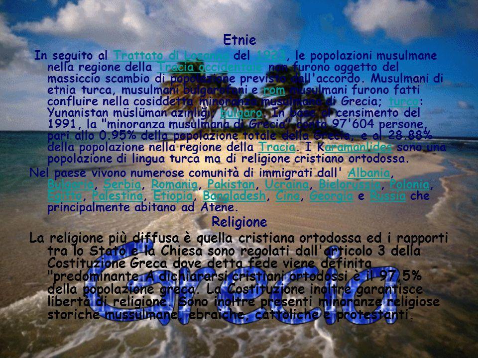 Lingue Minoranze linguistiche della Grecia La lingua ufficiale è il greco parlato circa dal 98,5% della popolazione.greco Economia L economia della Grecia è a sviluppo medio-alto, paragonabile a quello di altri Stati del Sud Europa (Spagna, Portogallo).