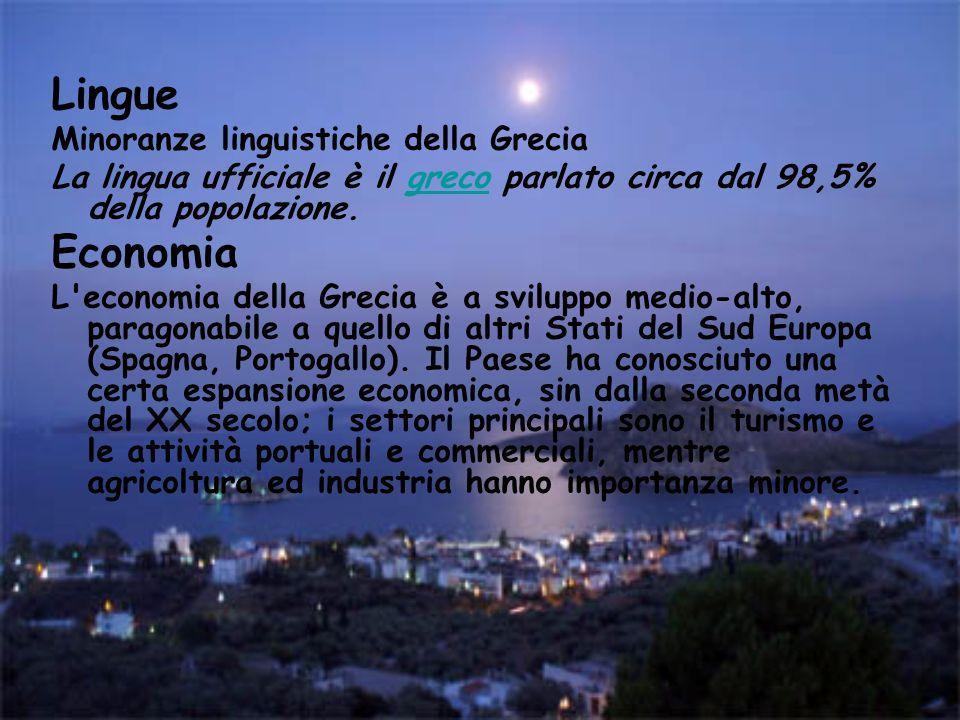 Lingue Minoranze linguistiche della Grecia La lingua ufficiale è il greco parlato circa dal 98,5% della popolazione.greco Economia L'economia della Gr