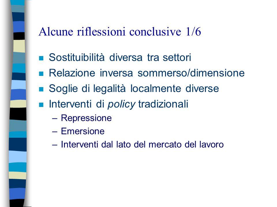 Alcune riflessioni conclusive 1/6 n Sostituibilità diversa tra settori n Relazione inversa sommerso/dimensione n Soglie di legalità localmente diverse