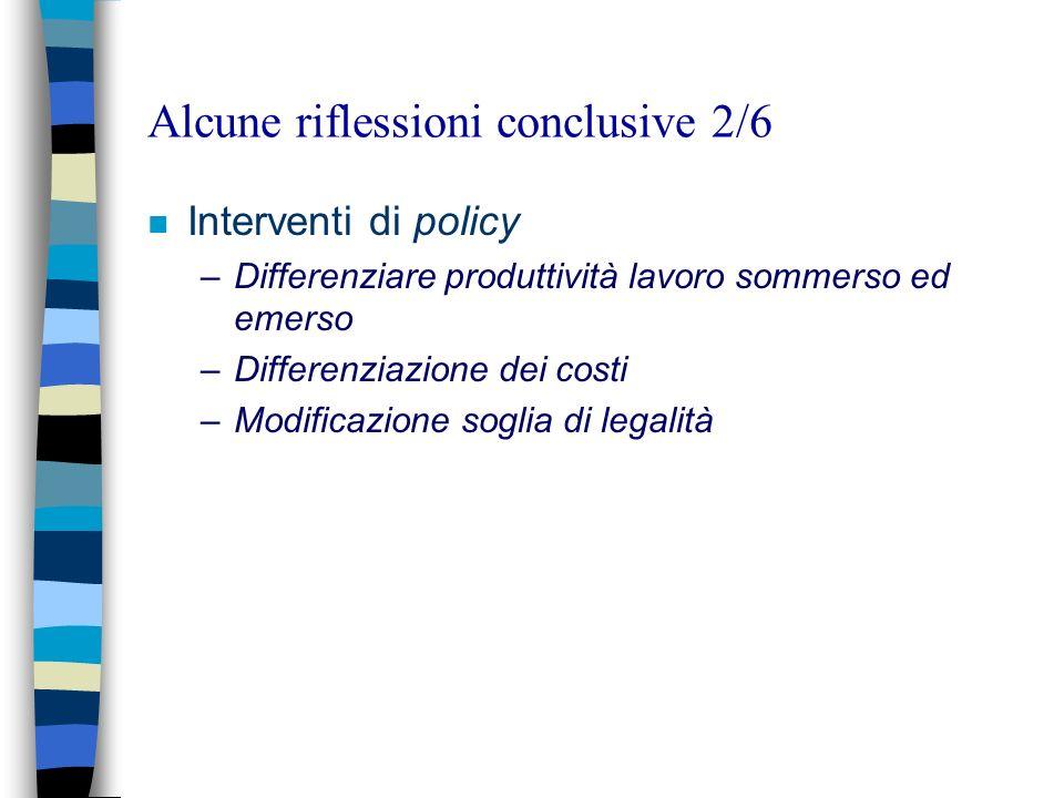 Alcune riflessioni conclusive 2/6 n Interventi di policy –Differenziare produttività lavoro sommerso ed emerso –Differenziazione dei costi –Modificazione soglia di legalità