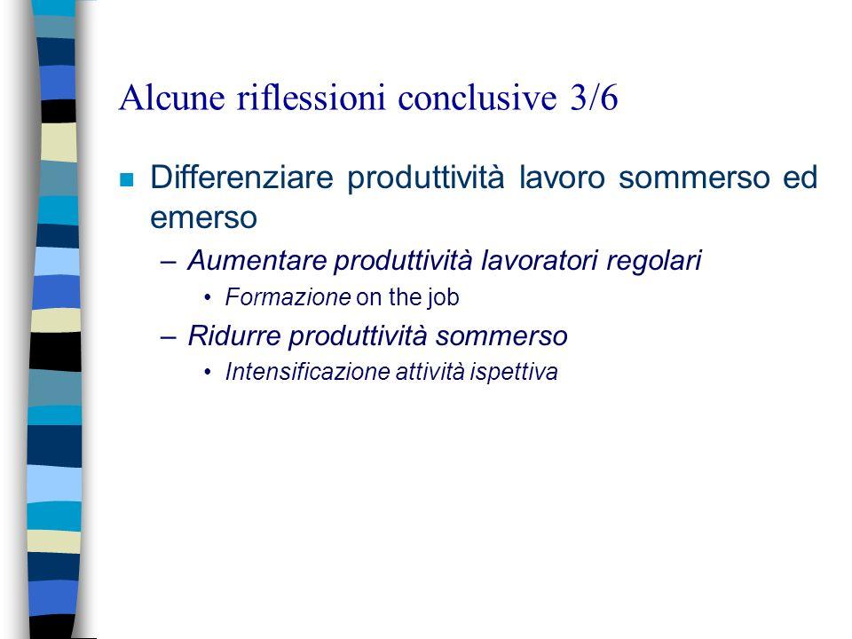 Alcune riflessioni conclusive 3/6 n Differenziare produttività lavoro sommerso ed emerso –Aumentare produttività lavoratori regolari Formazione on the