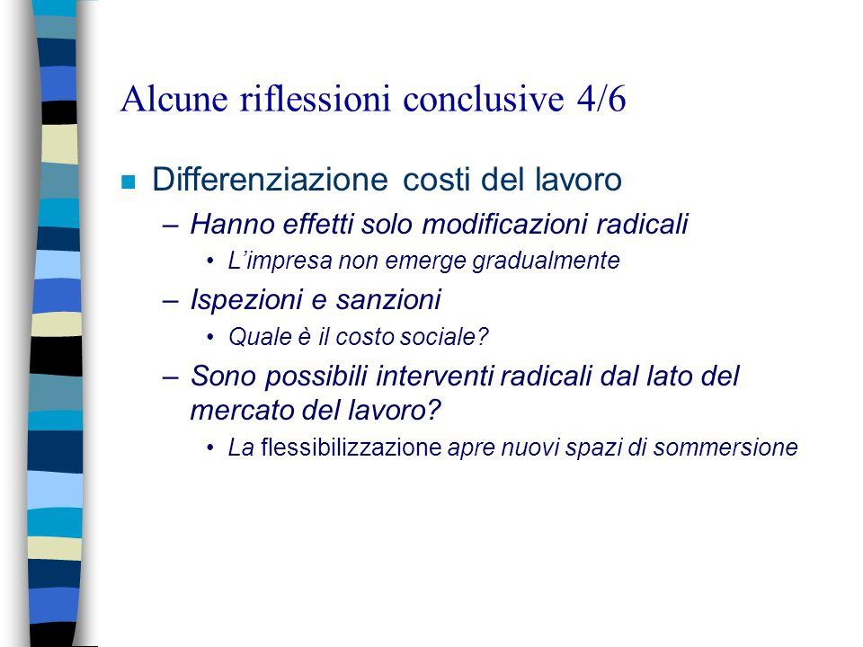 Alcune riflessioni conclusive 4/6 n Differenziazione costi del lavoro –Hanno effetti solo modificazioni radicali Limpresa non emerge gradualmente –Isp
