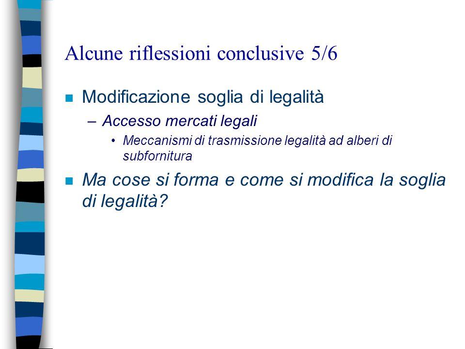 Alcune riflessioni conclusive 5/6 n Modificazione soglia di legalità –Accesso mercati legali Meccanismi di trasmissione legalità ad alberi di subfornitura n Ma cose si forma e come si modifica la soglia di legalità