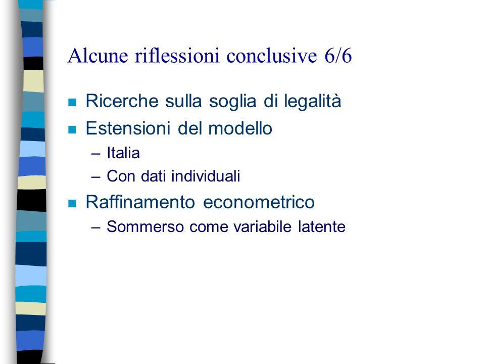 Alcune riflessioni conclusive 6/6 n Ricerche sulla soglia di legalità n Estensioni del modello –Italia –Con dati individuali n Raffinamento econometri