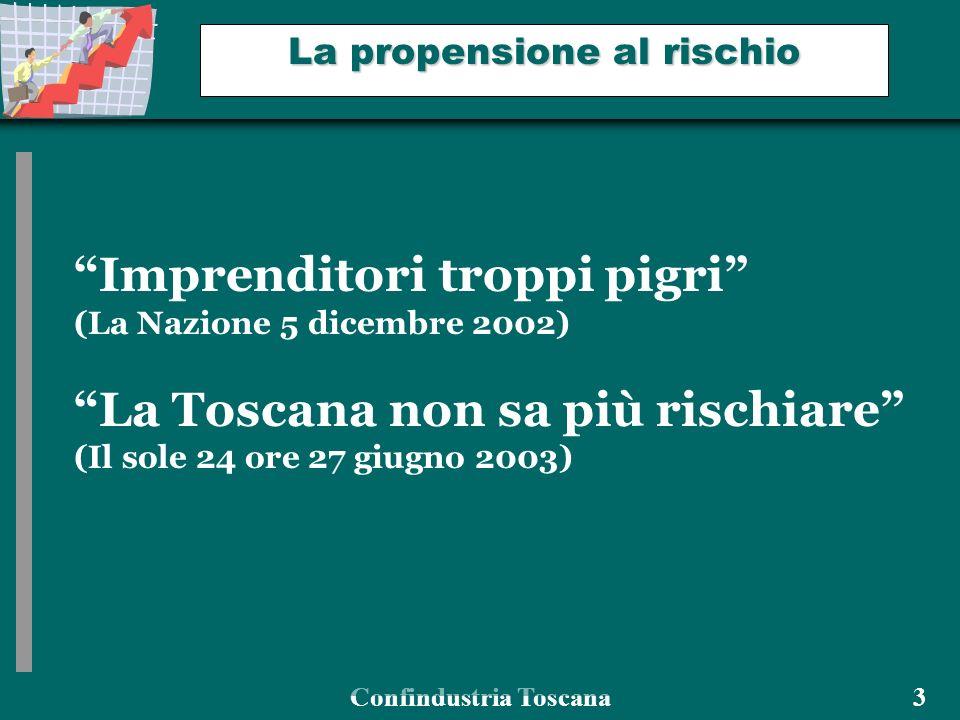 Confindustria Toscana 3 La propensione al rischio Imprenditori troppi pigri (La Nazione 5 dicembre 2002) La Toscana non sa più rischiare (Il sole 24 ore 27 giugno 2003)