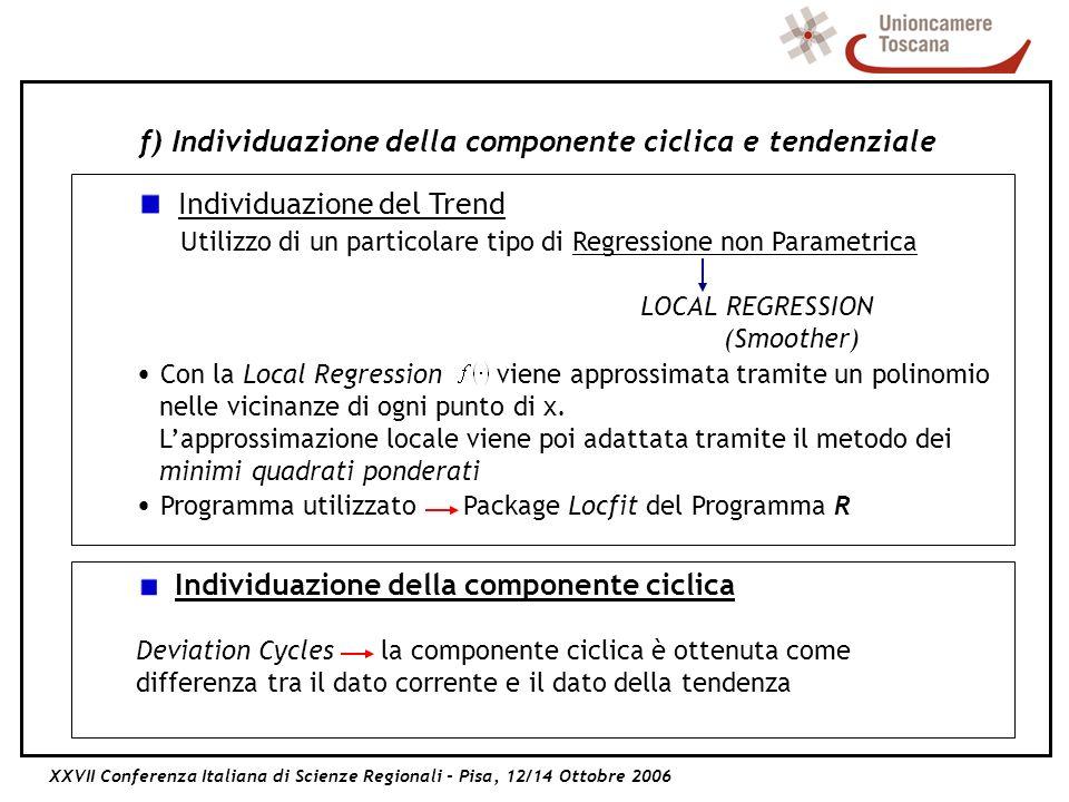 XXVII Conferenza Italiana di Scienze Regionali - Pisa, 12/14 Ottobre 2006 f) Individuazione della componente ciclica e tendenziale Individuazione del Trend Utilizzo di un particolare tipo di Regressione non Parametrica LOCAL REGRESSION (Smoother) Con la Local Regression viene approssimata tramite un polinomio nelle vicinanze di ogni punto di x.
