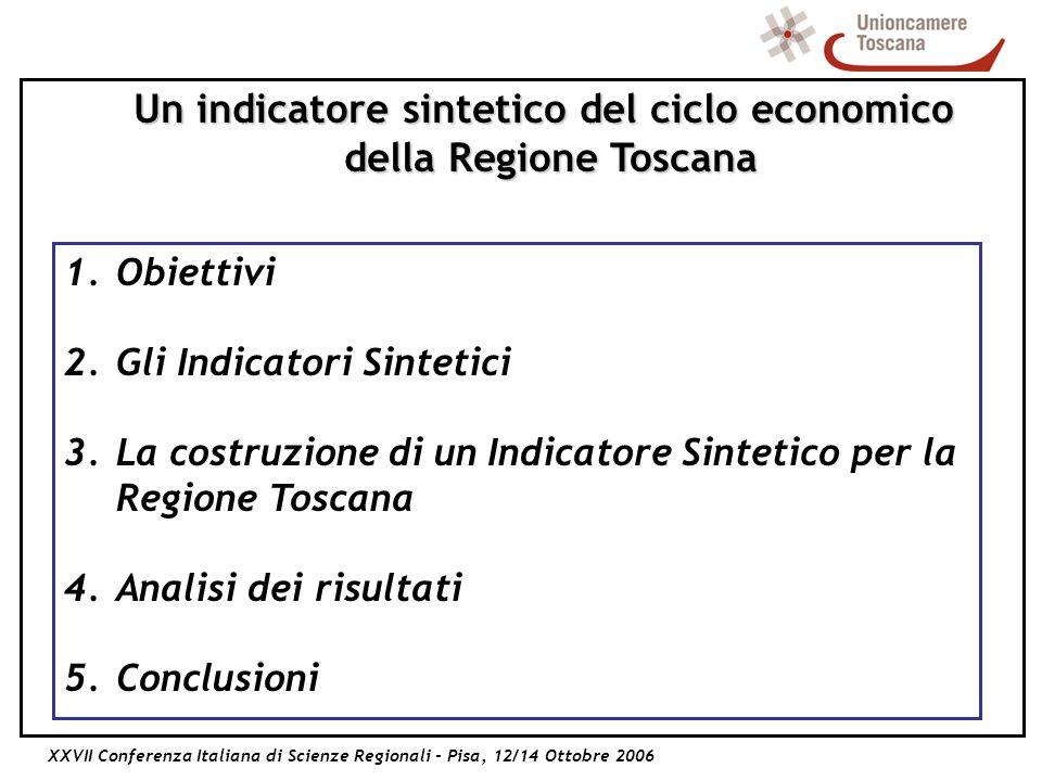 XXVII Conferenza Italiana di Scienze Regionali - Pisa, 12/14 Ottobre 2006 Un indicatore sintetico del ciclo economico della Regione Toscana 1.Obiettivi 2.Gli Indicatori Sintetici 3.La costruzione di un Indicatore Sintetico per la Regione Toscana 4.Analisi dei risultati 5.Conclusioni