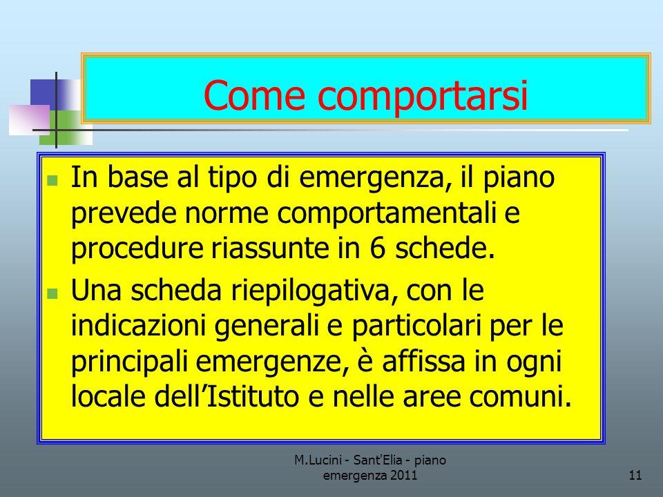 M.Lucini - Sant'Elia - piano emergenza 201111 Come comportarsi In base al tipo di emergenza, il piano prevede norme comportamentali e procedure riassu