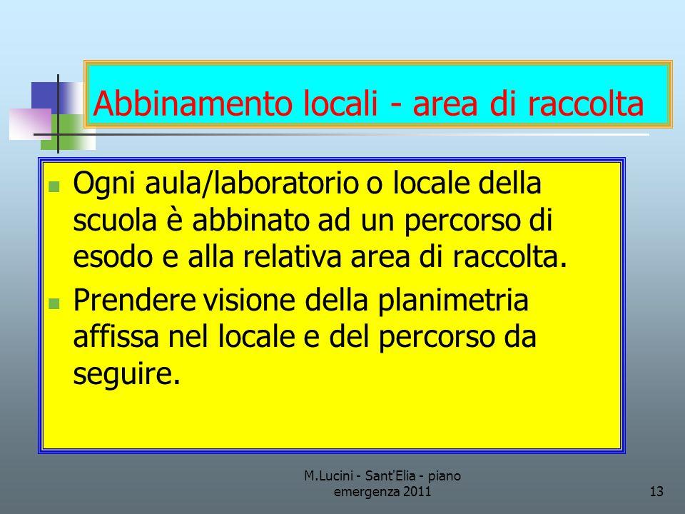 M.Lucini - Sant'Elia - piano emergenza 201113 Abbinamento locali - area di raccolta Ogni aula/laboratorio o locale della scuola è abbinato ad un perco