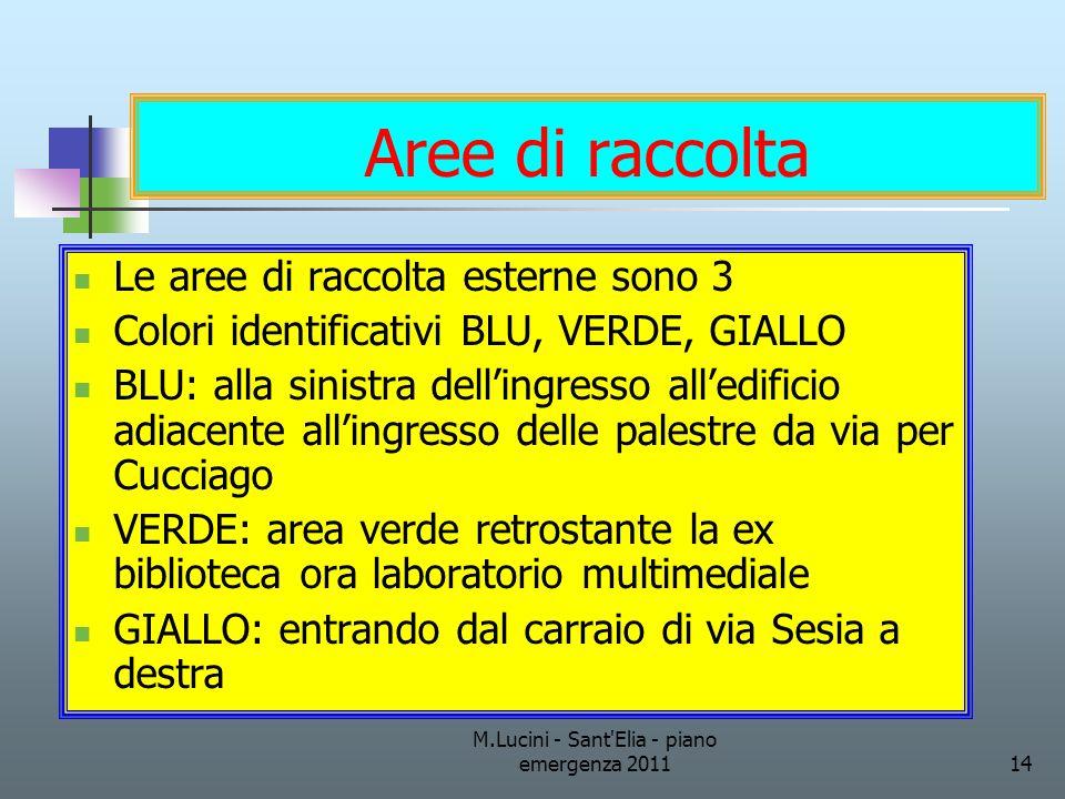 M.Lucini - Sant'Elia - piano emergenza 201114 Aree di raccolta Le aree di raccolta esterne sono 3 Colori identificativi BLU, VERDE, GIALLO BLU: alla s
