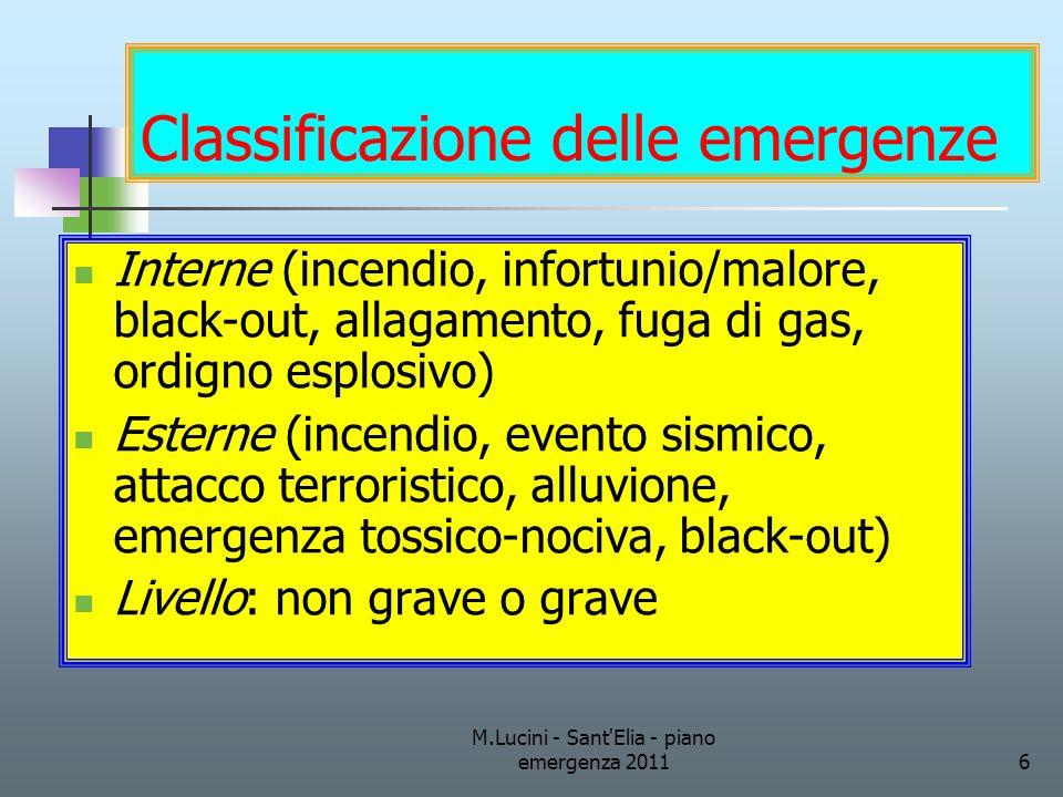 M.Lucini - Sant'Elia - piano emergenza 20116 Classificazione delle emergenze Interne (incendio, infortunio/malore, black-out, allagamento, fuga di gas