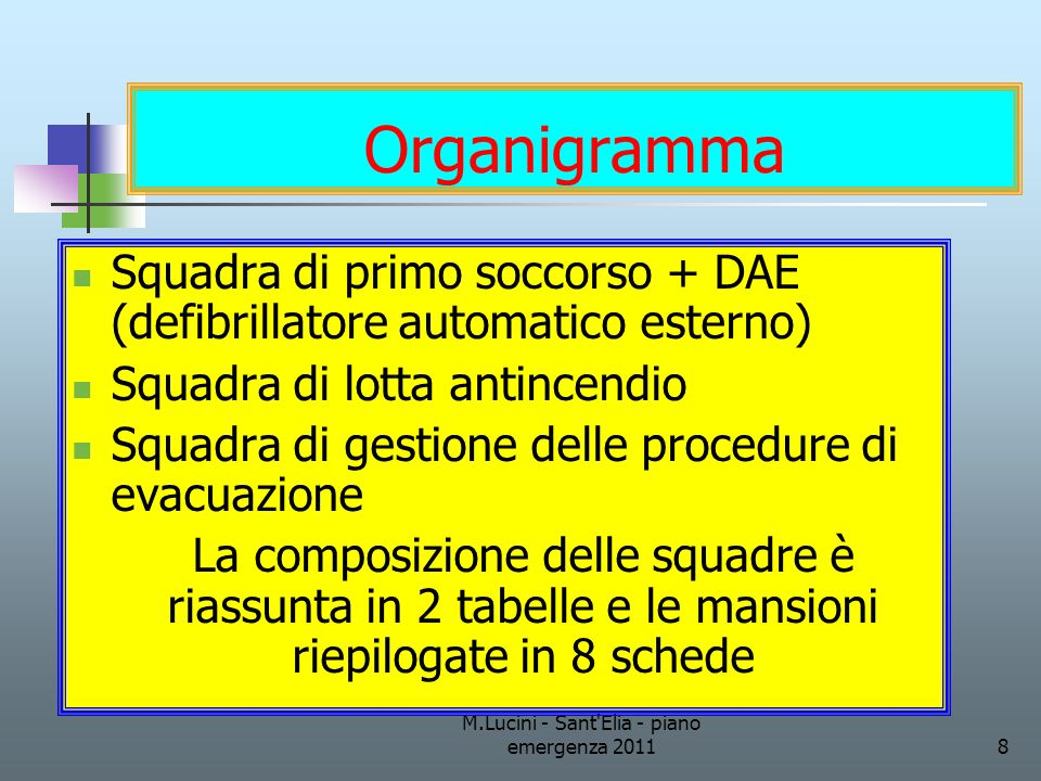 M.Lucini - Sant'Elia - piano emergenza 20118 Organigramma Squadra di primo soccorso + DAE (defibrillatore automatico esterno) Squadra di lotta antince
