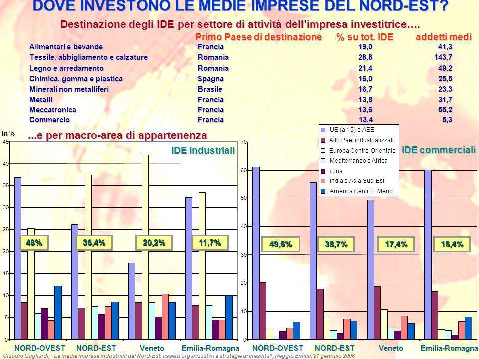 DOVE INVESTONO LE MEDIE IMPRESE DEL NORD-EST? Destinazione degli IDE per settore di attività dellimpresa investitrice…. Alimentari e bevande Francia19