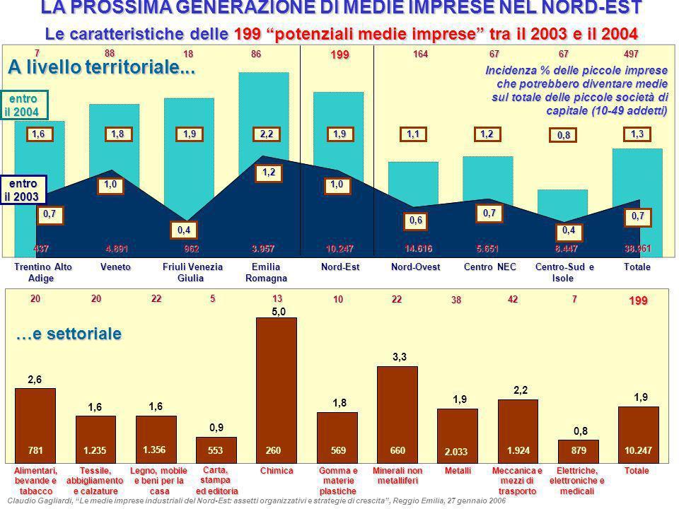 LA PROSSIMA GENERAZIONE DI MEDIE IMPRESE NEL NORD-EST Le caratteristiche delle 199 potenziali medie imprese tra il 2003 e il 2004 Alimentari, bevande