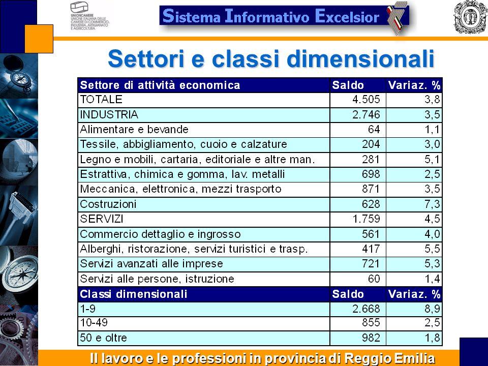 Il lavoro e le professioni in provincia di Reggio Emilia Settori e classi dimensionali