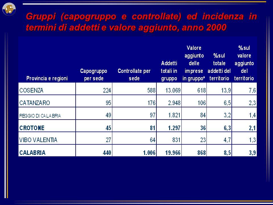 Gruppi (capogruppo e controllate) ed incidenza in termini di addetti e valore aggiunto, anno 2000