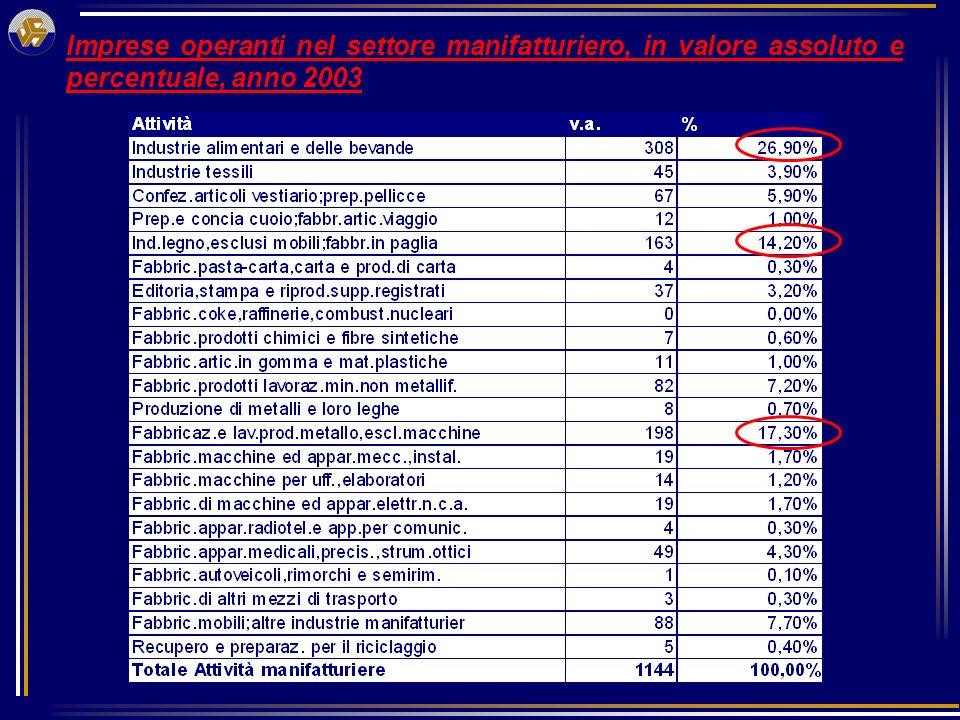 Imprese operanti nel settore manifatturiero, in valore assoluto e percentuale, anno 2003