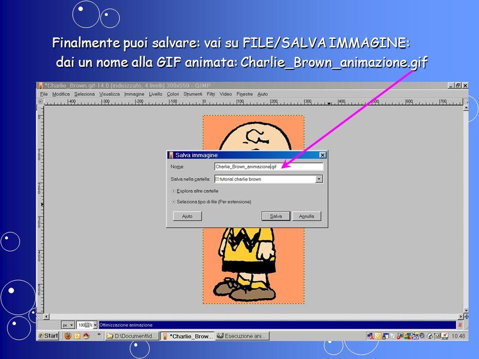 Finalmente puoi salvare: vai su FILE/SALVA IMMAGINE: dai un nome alla GIF animata: Charlie_Brown_animazione.gif dai un nome alla GIF animata: Charlie_