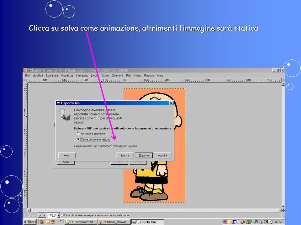 Clicca su salva come animazione, altrimenti limmagine sarà statica