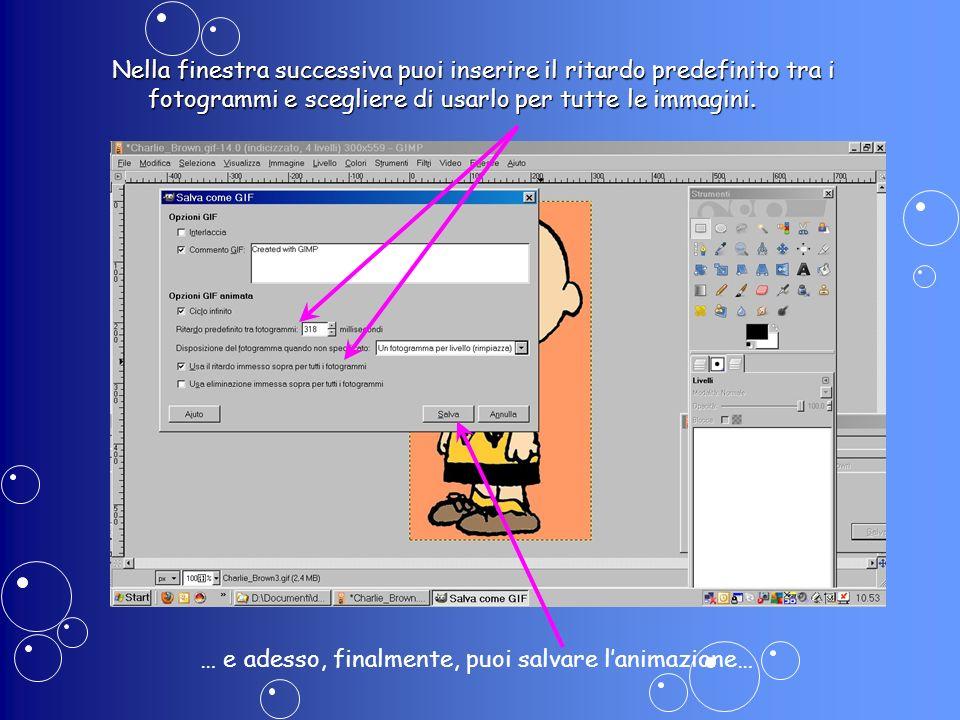 Nella finestra successiva puoi inserire il ritardo predefinito tra i fotogrammi e scegliere di usarlo per tutte le immagini. … e adesso, finalmente, p