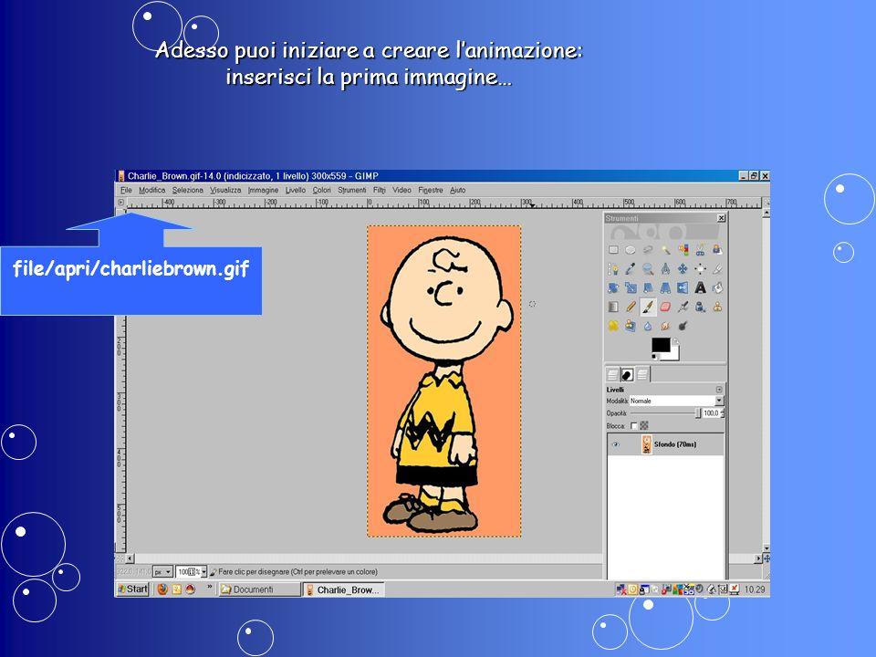 Adesso puoi iniziare a creare lanimazione: inserisci la prima immagine… file/apri/charliebrown.gif