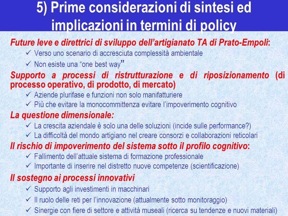 5) Prime considerazioni di sintesi ed implicazioni in termini di policy Future leve e direttrici di sviluppo dellartigianato TA di Prato-Empoli : Vers