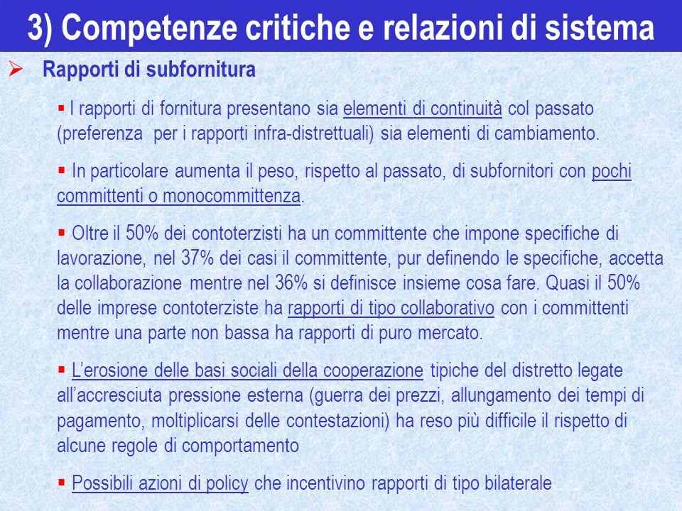 3) Competenze critiche e relazioni di sistema Rapporti di subfornitura I rapporti di fornitura presentano sia elementi di continuità col passato (pref