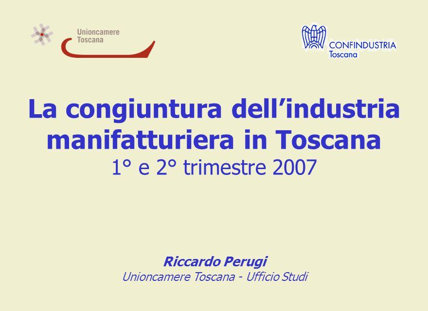 La congiuntura dellindustria manifatturiera in Toscana 1° e 2° trimestre 2007 Riccardo Perugi Unioncamere Toscana - Ufficio Studi