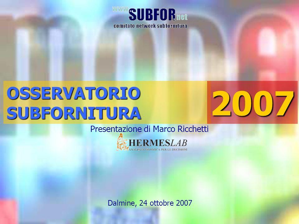 Presentazione di Marco Ricchetti Dalmine, 24 ottobre 2007OSSERVATORIOSUBFORNITURA2007