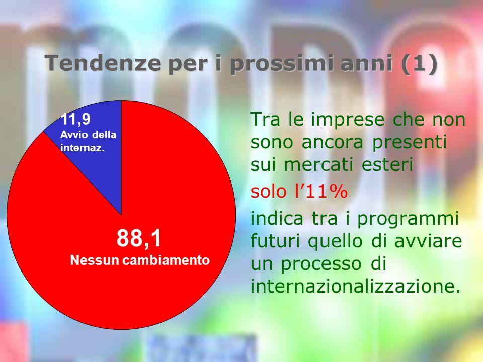 Tendenze per i prossimi anni (1) Tra le imprese che non sono ancora presenti sui mercati esteri solo l11% indica tra i programmi futuri quello di avviare un processo di internazionalizzazione.