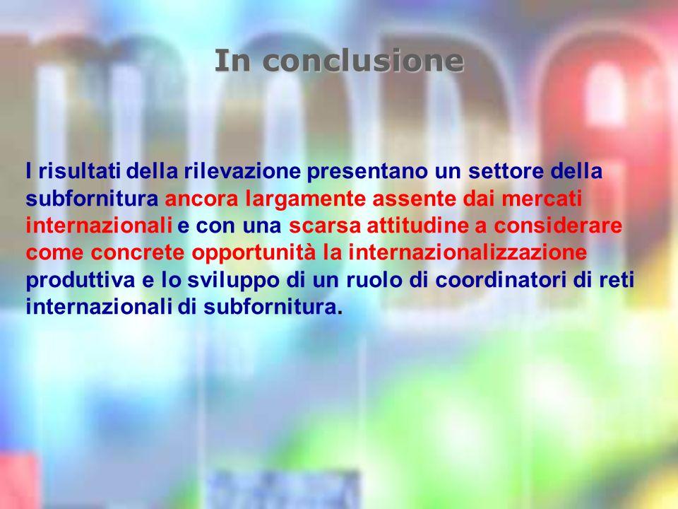 In conclusione I risultati della rilevazione presentano un settore della subfornitura ancora largamente assente dai mercati internazionali e con una scarsa attitudine a considerare come concrete opportunità la internazionalizzazione produttiva e lo sviluppo di un ruolo di coordinatori di reti internazionali di subfornitura.