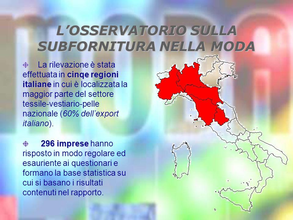 LOSSERVATORIO SULLA SUBFORNITURA NELLA MODA cinqe regioni italiane La rilevazione è stata effettuata in cinqe regioni italiane in cui è localizzata la maggior parte del settore tessile-vestiario-pelle nazionale (60% dellexport italiano).