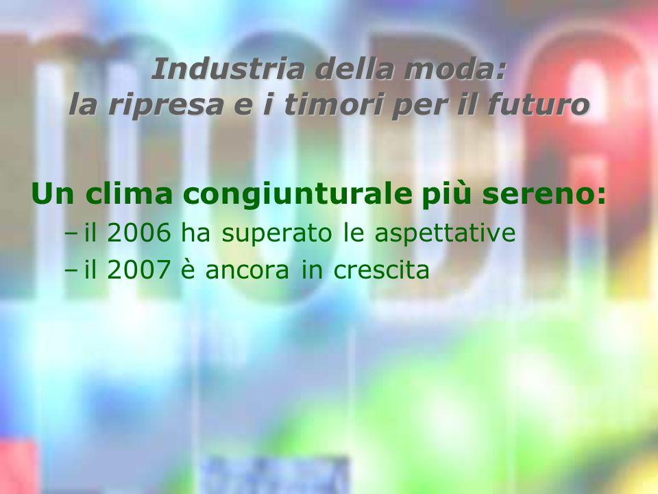 Industria della moda: la ripresa e i timori per il futuro Un clima congiunturale più sereno: –il 2006 ha superato le aspettative –il 2007 è ancora in crescita