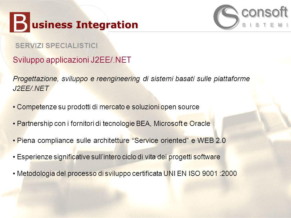 6 6 SERVIZI SPECIALISTICI usiness Integration B Sviluppo applicazioni J2EE/.NET Progettazione, sviluppo e reengineering di sistemi basati sulle piattaforme J2EE/.NET Competenze su prodotti di mercato e soluzioni open source Partnership con i fornitori di tecnologie BEA, Microsoft e Oracle Piena compliance sulle architetture Service oriented e WEB 2.0 Esperienze significative sullintero ciclo di vita dei progetti software Metodologia del processo di sviluppo certificata UNI EN ISO 9001 :2000