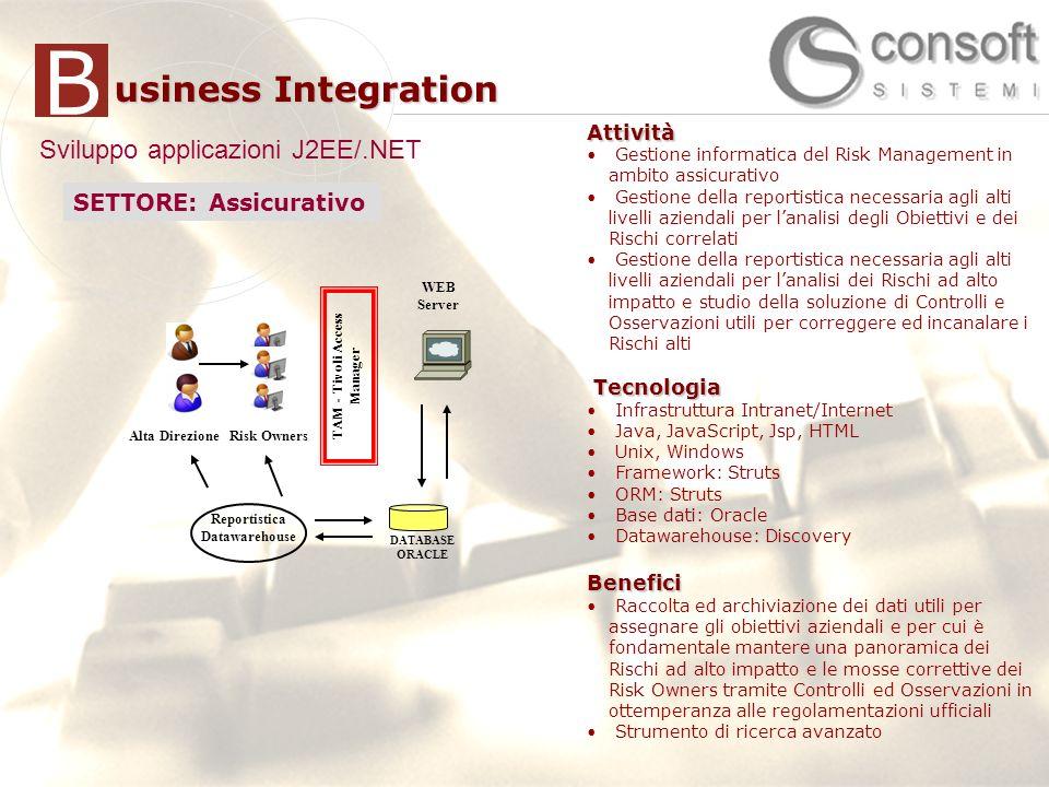 7 7 usiness Integration BAttività Supporto allanalisi delle perfornance delle applicazioni J2EE/.NET Delivery di soluzione di APM (CA|Wily Introscope) Definizione di infrastruttura globale di APM e standard di monitoraggio Integrazione con strumenti monitoraggio (HP OpenView) Sviluppo applicazioni di monitoraggioTecnologia Java 2 EE BEA WebLogic Server CA|Wily IntroscopeBenefici Miglioramento performance applicazioni Ottimizzazione uso risorse Monitoraggio proattivo e riduzione downtime Attività Gestione informatica del Risk Management in ambito assicurativo Gestione della reportistica necessaria agli alti livelli aziendali per lanalisi degli Obiettivi e dei Rischi correlati Gestione della reportistica necessaria agli alti livelli aziendali per lanalisi dei Rischi ad alto impatto e studio della soluzione di Controlli e Osservazioni utili per correggere ed incanalare i Rischi alti Tecnologia Tecnologia Infrastruttura Intranet/Internet Java, JavaScript, Jsp, HTML Unix, Windows Framework: Struts ORM: Struts Base dati: Oracle Datawarehouse: DiscoveryBenefici Raccolta ed archiviazione dei dati utili per assegnare gli obiettivi aziendali e per cui è fondamentale mantere una panoramica dei Rischi ad alto impatto e le mosse correttive dei Risk Owners tramite Controlli ed Osservazioni in ottemperanza alle regolamentazioni ufficiali Strumento di ricerca avanzato Sviluppo applicazioni J2EE/.NET SETTORE: Assicurativo Risk Owners WEB Server DATABASE ORACLE TAM - Tivoli Access Manager Reportistica Datawarehouse Alta Direzione