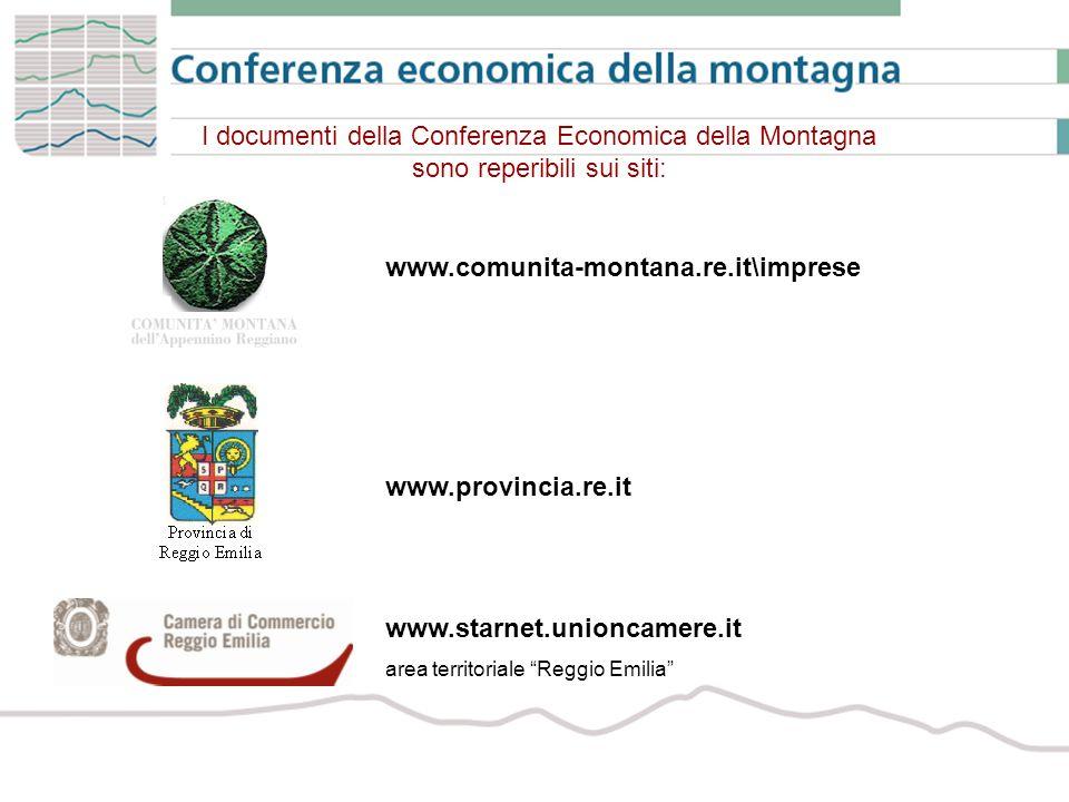I documenti della Conferenza Economica della Montagna sono reperibili sui siti: www.comunita-montana.re.it\imprese www.provincia.re.it www.starnet.unioncamere.it area territoriale Reggio Emilia