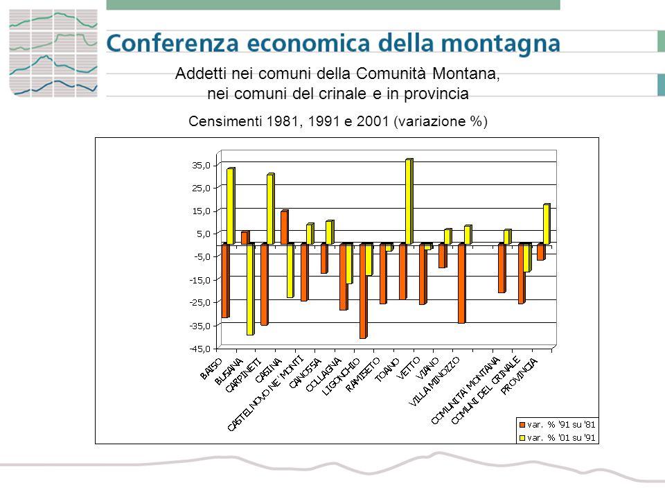 Imprese femminili per attività economica nei comuni della Comunità Montana, nei comuni del crinale e in provincia Anno 2006 (composizione %)