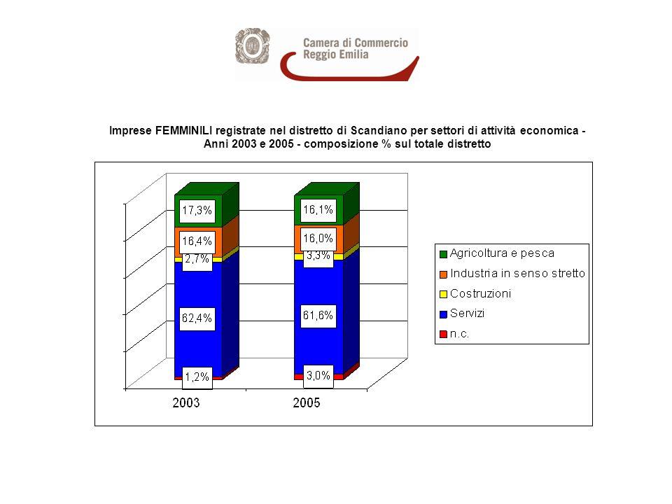 Imprese FEMMINILI registrate nel distretto di Scandiano per settori di attività economica - Anni 2003 e 2005 - composizione % sul totale distretto