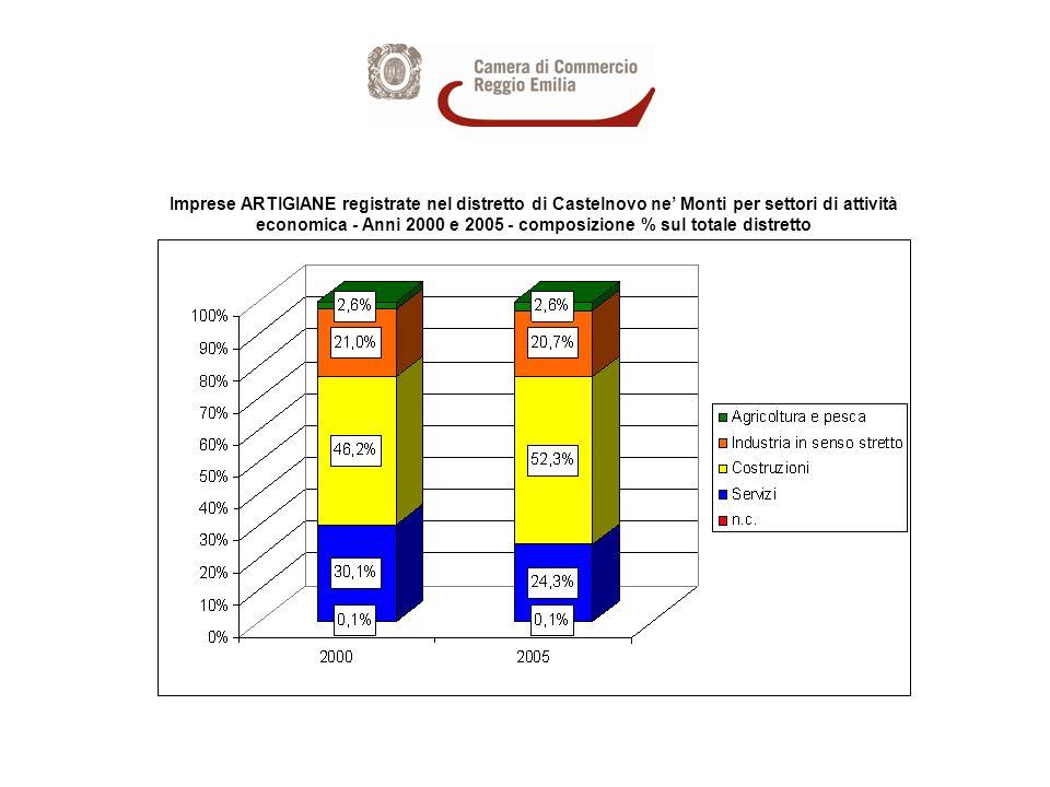 Imprese ARTIGIANE registrate nel distretto di Castelnovo ne Monti per settori di attività economica - Anni 2000 e 2005 - composizione % sul totale distretto