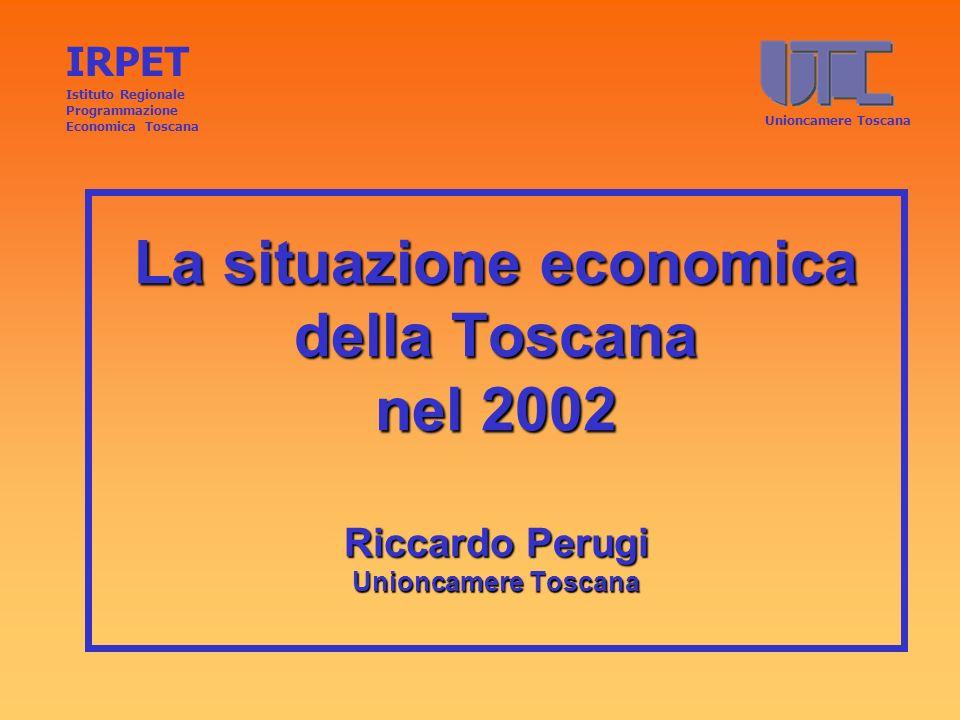 La situazione economica della Toscana nel 2002 Riccardo Perugi Unioncamere Toscana IRPET Istituto Regionale Programmazione Economica Toscana Unioncame