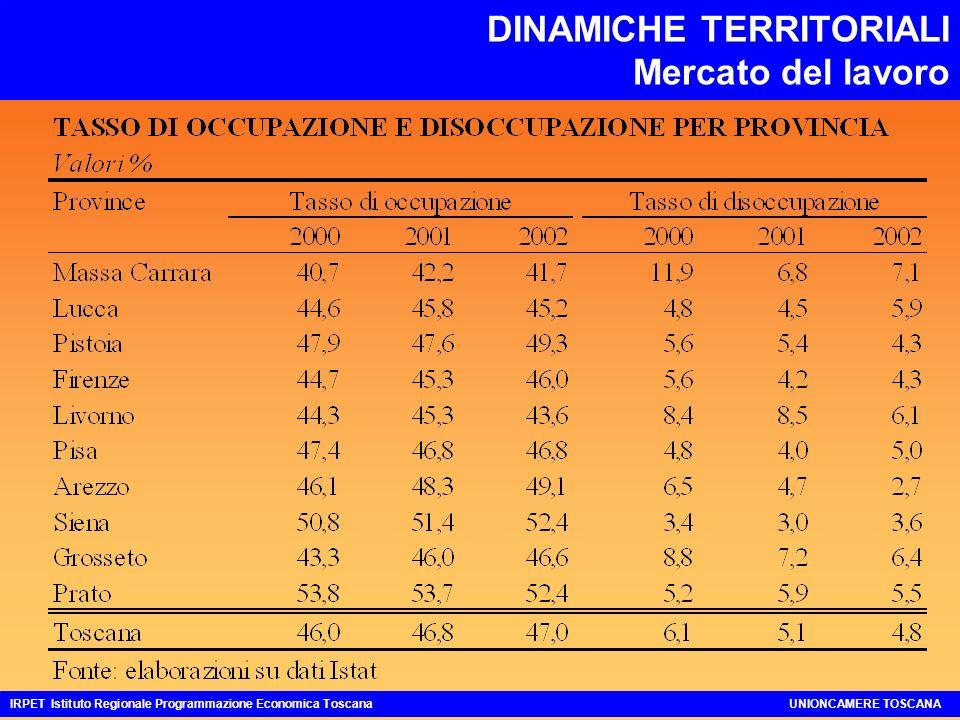 DINAMICHE TERRITORIALI Mercato del lavoro IRPET Istituto Regionale Programmazione Economica ToscanaUNIONCAMERE TOSCANA