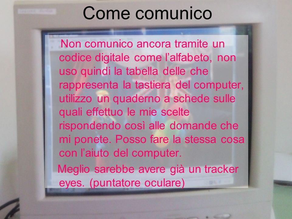 Come comunico Non comunico ancora tramite un codice digitale come lalfabeto, non uso quindi la tabella delle che rappresenta la tastiera del computer,