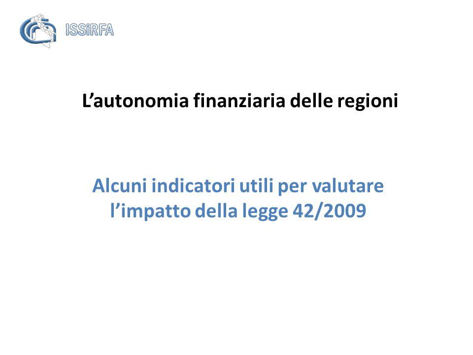 Lautonomia finanziaria delle regioni Alcuni indicatori utili per valutare limpatto della legge 42/2009