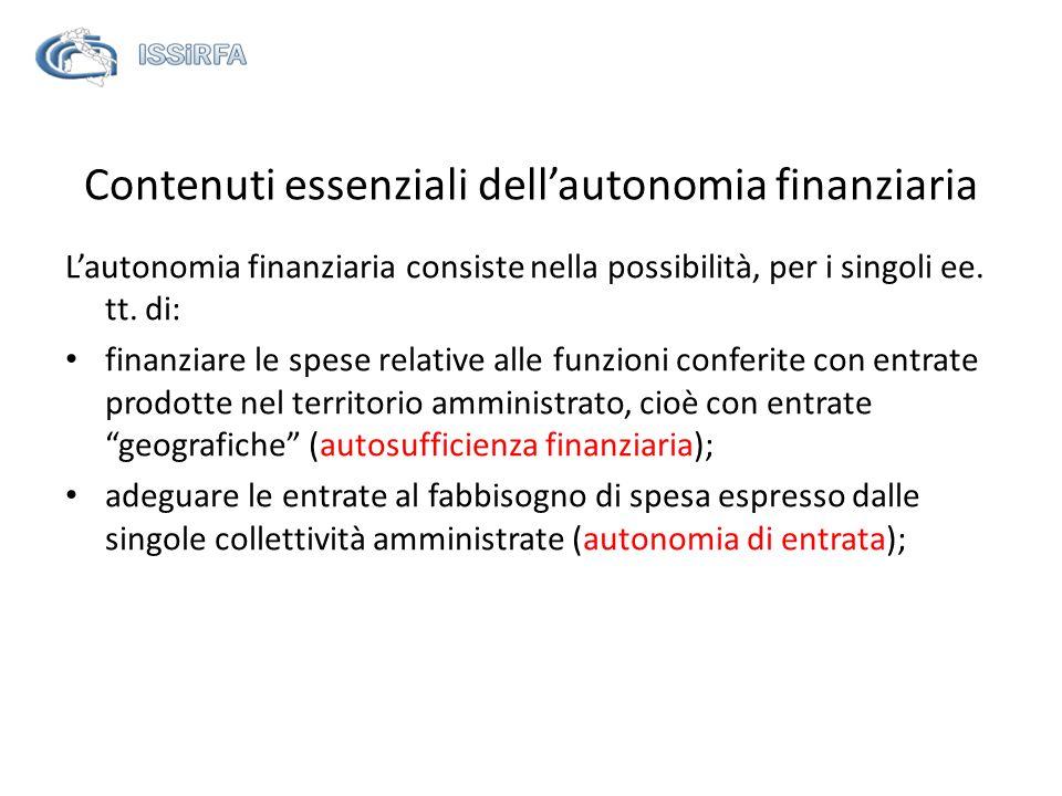 Contenuti essenziali dellautonomia finanziaria Lautonomia finanziaria consiste nella possibilità, per i singoli ee. tt. di: finanziare le spese relati