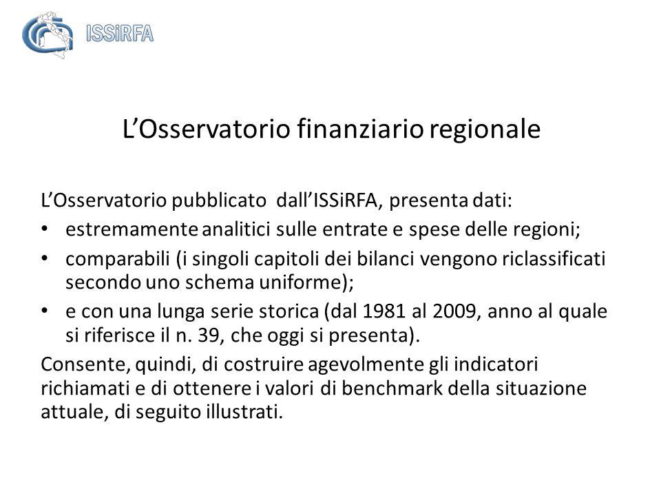 LOsservatorio finanziario regionale LOsservatorio pubblicato dallISSiRFA, presenta dati: estremamente analitici sulle entrate e spese delle regioni; c