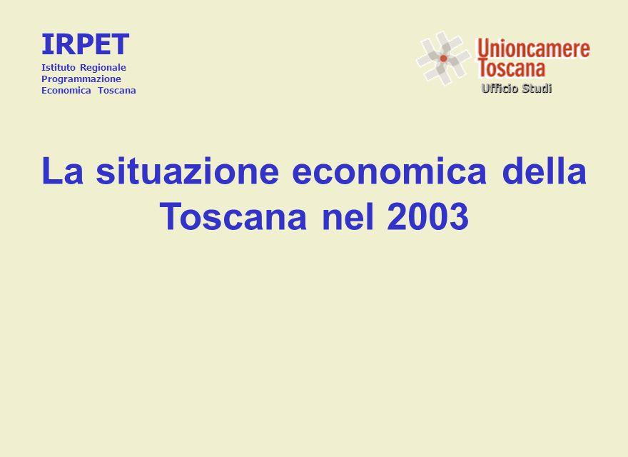 Ufficio Studi La situazione economica della Toscana nel 2003 IRPET Istituto Regionale Programmazione Economica Toscana