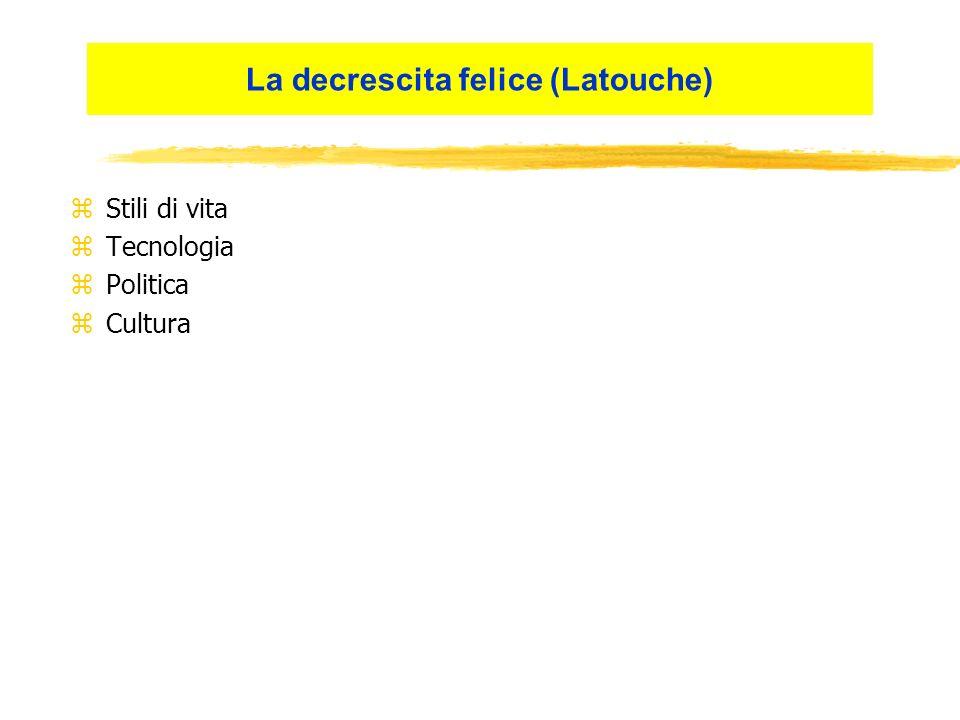 zStili di vita zTecnologia zPolitica zCultura La decrescita felice (Latouche)