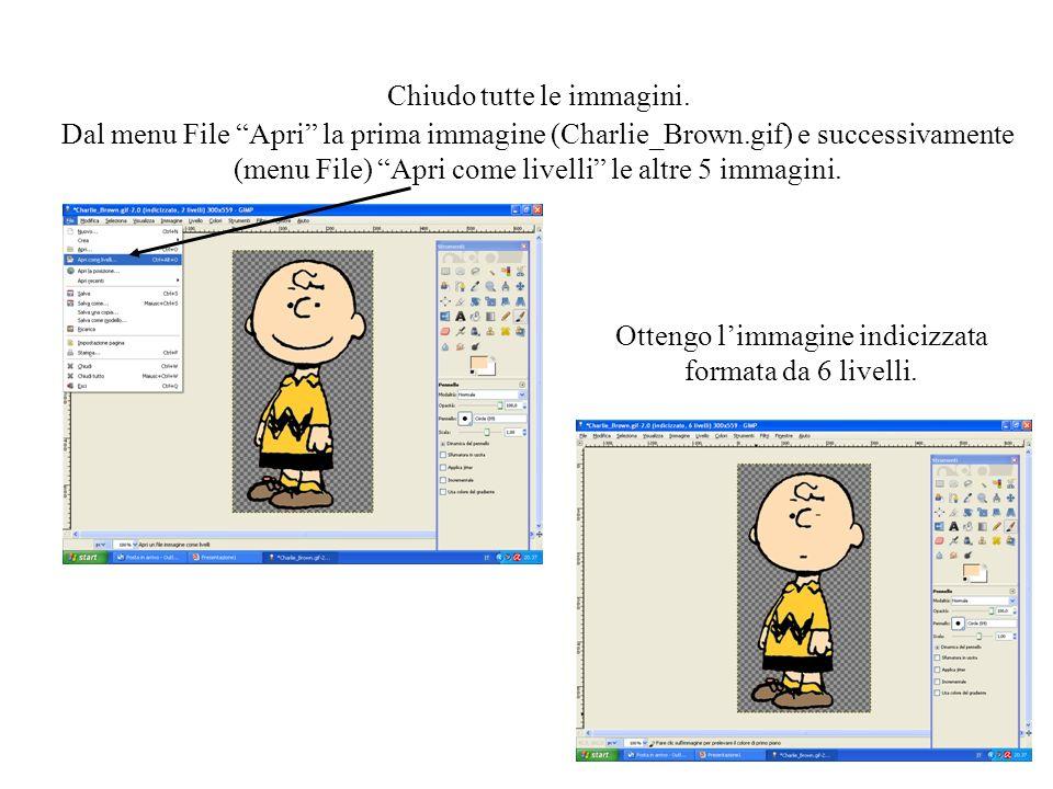 Chiudo tutte le immagini. Dal menu File Apri la prima immagine (Charlie_Brown.gif) e successivamente (menu File) Apri come livelli le altre 5 immagini