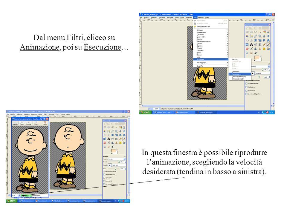 Dal menu Filtri, clicco su Animazione, poi su Esecuzione… In questa finestra è possibile riprodurre lanimazione, scegliendo la velocità desiderata (te